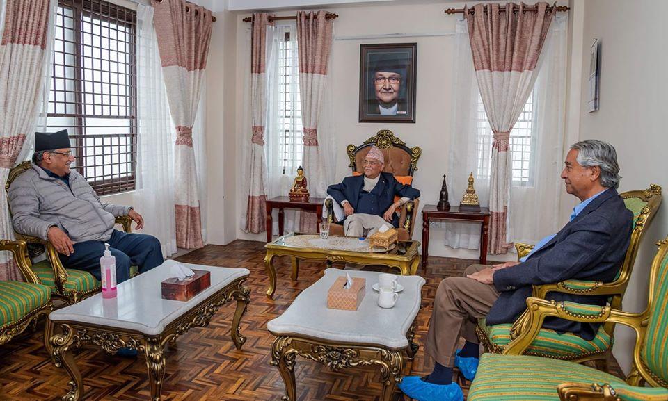 नेकपाका अध्यक्षद्वय र सभापति देउवाबिच भेटवार्ता